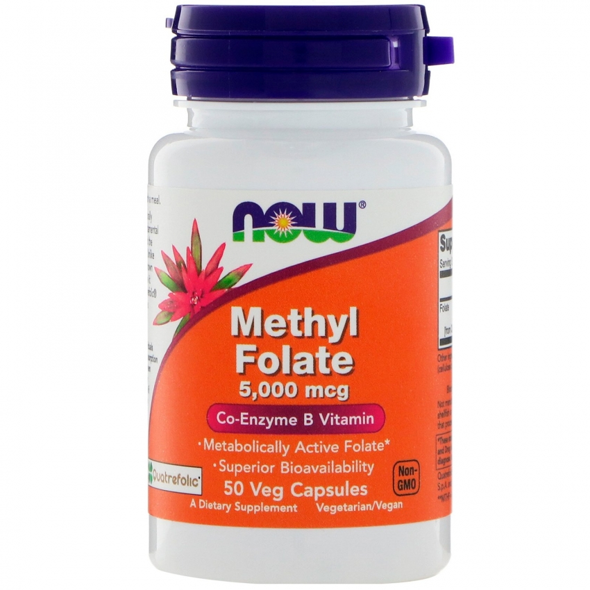 Methyl Folate, Метил Фолат, Витамин Б Коэнзим 5000 мкг - 50 капсул